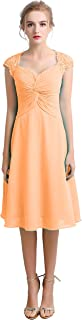 CladiyaDress Women V Neck Chiffon Lace A Line Bridesmaid Dress Evening Gown D100LF