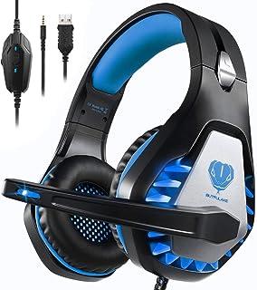 Auriculares Gaming para PS4/Xbox One/Nintendo Switch, Pacrate GH-1 Cascos Gaming con Sonido Envolvente y Cancelación de Ruido Auriculares Diadema con 3.5mm Jack con Luz LED