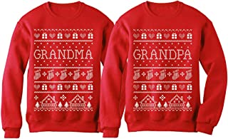 Grandma & Grandpa Matching Ugly Christmas Sweatshirts Set Grandparents Xmas Gift