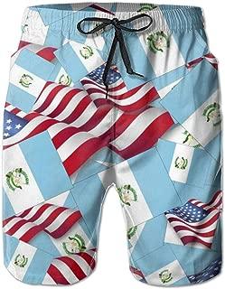 FUNSTYEET Men's Board Shorts Guatemala Flag with America Flag Holiday Swim Trunks Mesh Lining