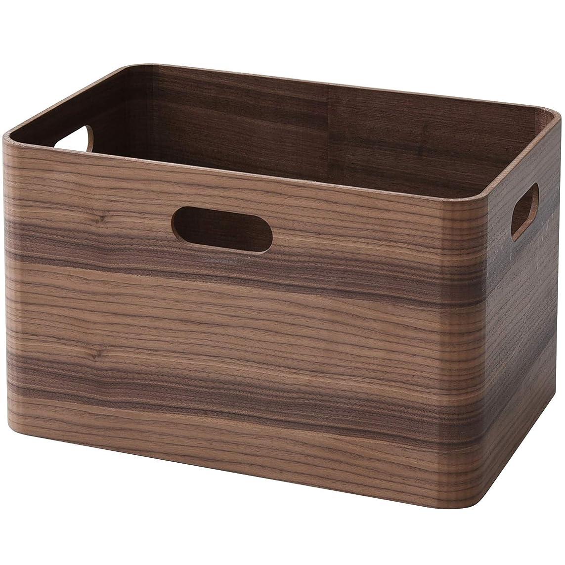 パスタ嵐が丘野球山善(YAMAZEN) 収納ボックス ブラウン(ウォルナット材) レギュラー 完成品 天然木(ウォールナット材)使用 TSB-1(BR)