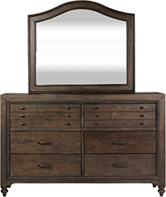 Liberty Furniture Industries Catawba Hills Dresser & Mirror, W64 x D18 x H40, Dark Brown