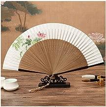 Ventilador de Mano, Borde Lacado Abanico Abanico Manija Abanico La Sra. Estilo Chino Abanico de bambú Pintado a Mano de Doble Cara de Seda (Color : B)