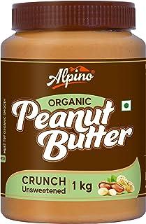Alpino Organic Natural Peanut Butter Butter Crunch 1 KG (Unsweetened / Gluten Free / Non-GMO / Vegan)