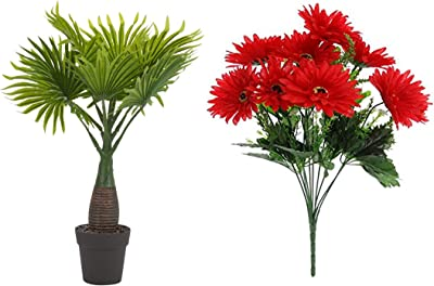 Fourwalls Synthetic Artificial Bonsai Fan Palm Plant with Pot (10 Branches, Green, 40 cm Tall) + Artificial Synthetic Gerbera Flower Bunch (10 Flowers, Red, 46 cm Tall)