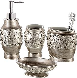 Dublin 4-Piece Bathroom Accessories Set - Includes Decorative Countertop Soap Dispenser, Dish, Tumbler, Toothbrush Holder,...
