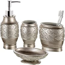 Dublin 4-Piece Bathroom Accessories Set - Includes Decorative Countertop Soap Dispenser, Dish, Tumbler, Toothbrush Holder,...