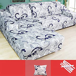 KIRA Sofa Slipcover Stretch Fabric Stretch Couch Slipcover 1/2/3/4 Seater L Shaped Sofa Cover Chaise Longue Non-Slip Breathable Anti-Pilling Active Printing and Dyeing, Elastic Bandage
