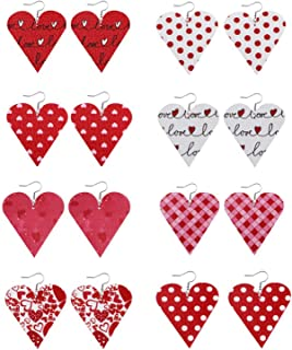 Heaven20178 pares de brincos de gancho de couro sintético para o dia dos namorados com gota de água e coração para mulhere...