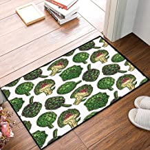 Non-Slip Mat Microfiber Bathroom Rug Shower Mat, Artichoke,Hand Drawn Healthy Foods in Various Forms Organic Na, Ultra Soft and Water Absorbent Bath Rug,Machine Wash/Dry 24x 39 inches
