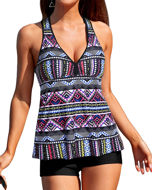 Tempt Me Women Two Piece Swimsuits Tummy Control Tankini Top Racerback V Neck Boyshort Bathing Suit