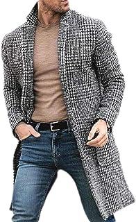 Macondoo Mens Overcoat Check Wool Blend Printed Trench Coat Pea Coat