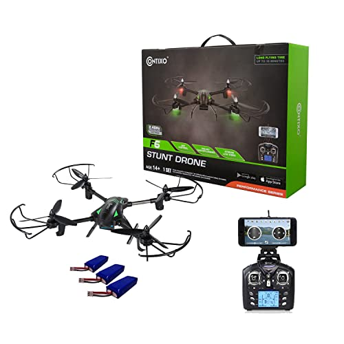 Contixo F6 RC Quadcopter Racing Drone 2.4Ghz 6-Axis Gyro with 720P Rotating HD Camera, FPV Live Feed, Headless, 18 Minutes Flight Time, 360 Flips, Mobile App, Hover, VR Ready (F6 Bundle2)