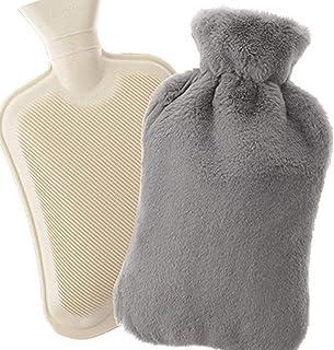 Remebe Ensemble de chauffe-bouillotte en caoutchouc 1,8 litres, housse en tricot amovible en peluche, idéal pour le chauff...
