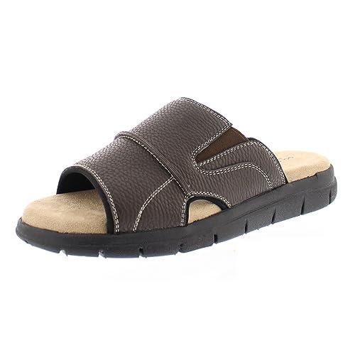 7d1e82a60bad Gold Toe Men s Russell Open Toe Fisherman Slide Sandal Casual Memory Foam  Comfort Slip On Flats
