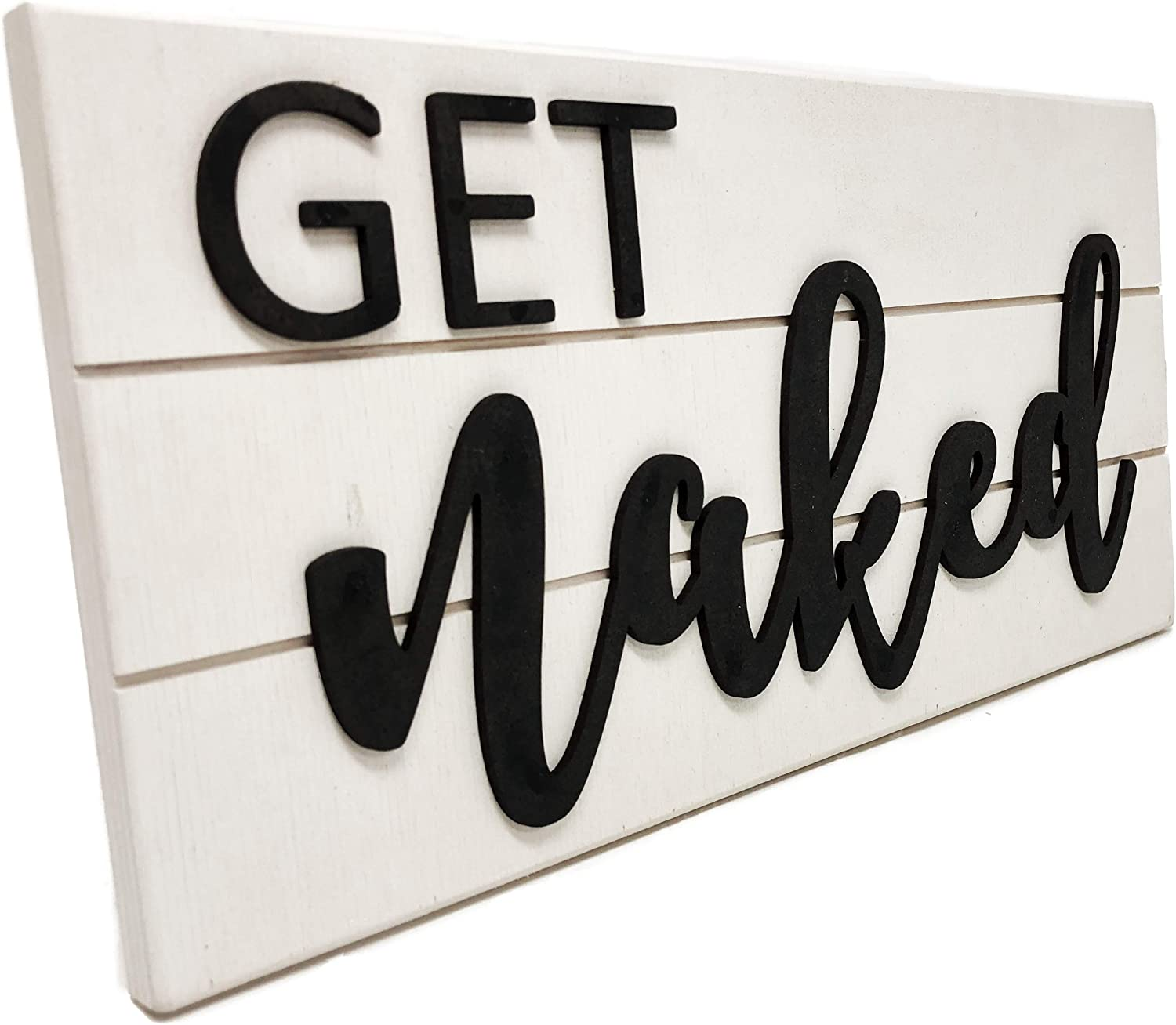 Rustic Get Naked sign Portland Mall bathroom Virginia Beach Mall with white decor lette black