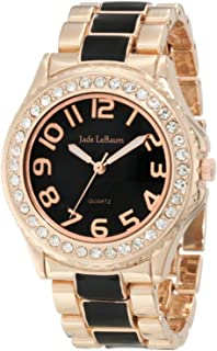 Jade LeBaum Womens Boyfriend Bracelet Watch Two Tone Rose Gold and Black Chunky Large Face JB202745G