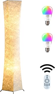 Floor Lamp, CHIPHY Tall Lamps, Color Changing and Dimmable Smart RGB LED Bulbs, Remote Control and White Fabric Shade, Modern Standing Light for Living Room, Bedroom and Office(10