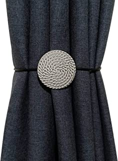 Vineland Magnetic Curtain Tiebacks, 2 Pack 16 Inch Rope Hold Back Metallic Decorative Holder Nordic Modern Convenient Drap...