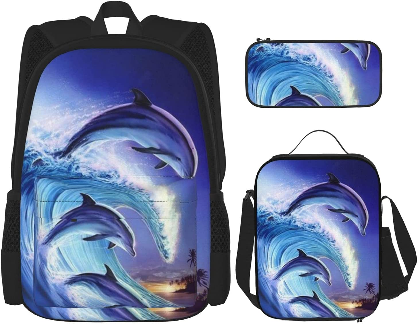 Outlet ☆ Free Shipping Dolphin Backpack Shoulder free Bags Bookbag with Bag Cas Pencil Lunch