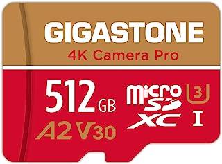 【5年保証 】Gigastone 512GB マイクロSDカード A2 V30 Ultra HD 4K ビデオ録画 Gopro アクションカメラ スポーツカメラ 高速4Kゲーム 動作確認済 100MB/s マイクロ SDXC UHS-I U3 ...