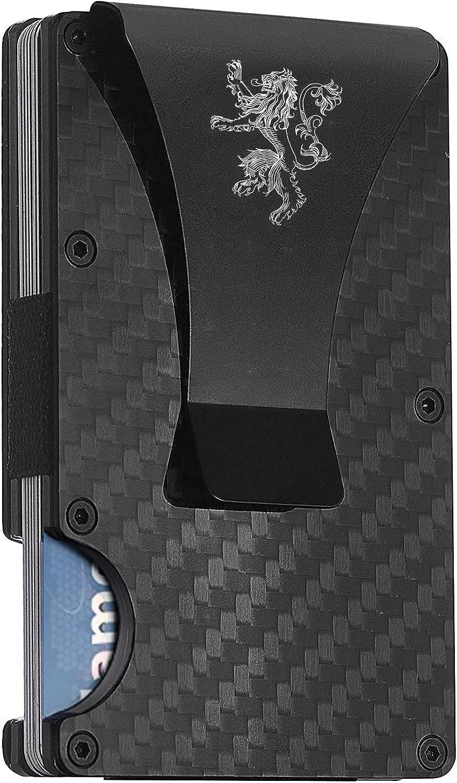 Carbon Fiber Minimalist Wallet for Men - RFID Wallets for Men Credit Card Holder Metal Money Clip - Slim Rigid Mens Wallet (Y06)