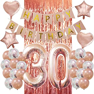 30th Birthday Decorations - 40 Inch 30th Number Balloons Birthday Decorations Pink and Gold Happy Birthday Banner With Rose Gold Tinsel Foil Fringe Curtains Party Decorations