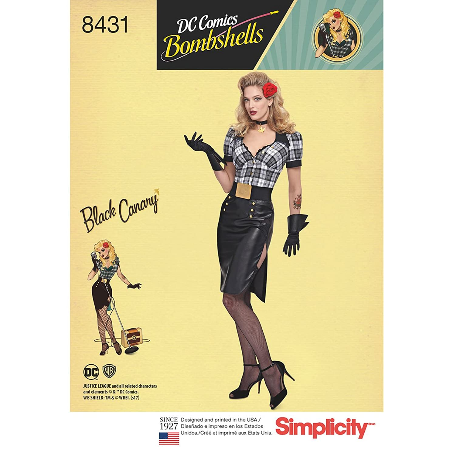 Simplicity 8431 Women's DC Comics Bombshell Black Canary Costume Sewing Pattern, Size 16-24