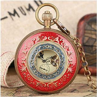 Pocket watch Montre de Poche rétro - Grand Tourbillon Mouvement mécanique cuivre Pur Montre de Poche Creux Red Blue Face M...