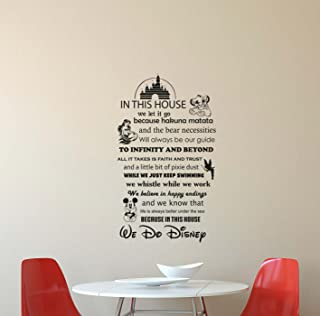 In This House We Do Disney Wall Decal Walt Disney Quote Lettering Vinyl Sticker Living Room Boy Girl Teens Kids Decorations Housewares Home Bedroom Nursery Decor Art Poster Mural Custom Print 415