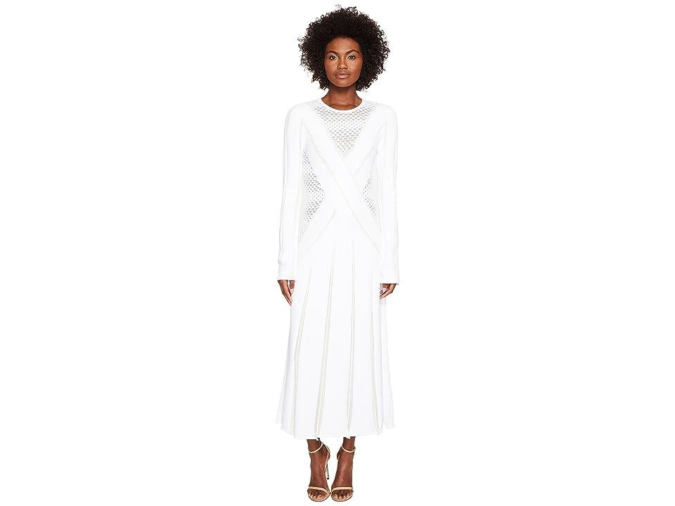 Prabal Gurung Viscose Knit Long Sleeve Knit Dress (White) Women