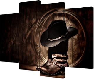 VVOVV Wall Decor Western Cowboy Wall Art American Western Art Cowboy Hat Boots West Rodeo Vintage Picture Canvas Prints Stretched Framed Artwork Home Office Living Room Wall Decor Set of 4 Pieces