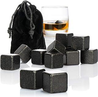 com-four 12x Whisky Steine in Basaltoptik - Kühlsteine für Whiskey mit Aufbewahrungsbeutel aus Stoff - kein Verwässern mehr Basaltoptik schwarz- 12 Stück