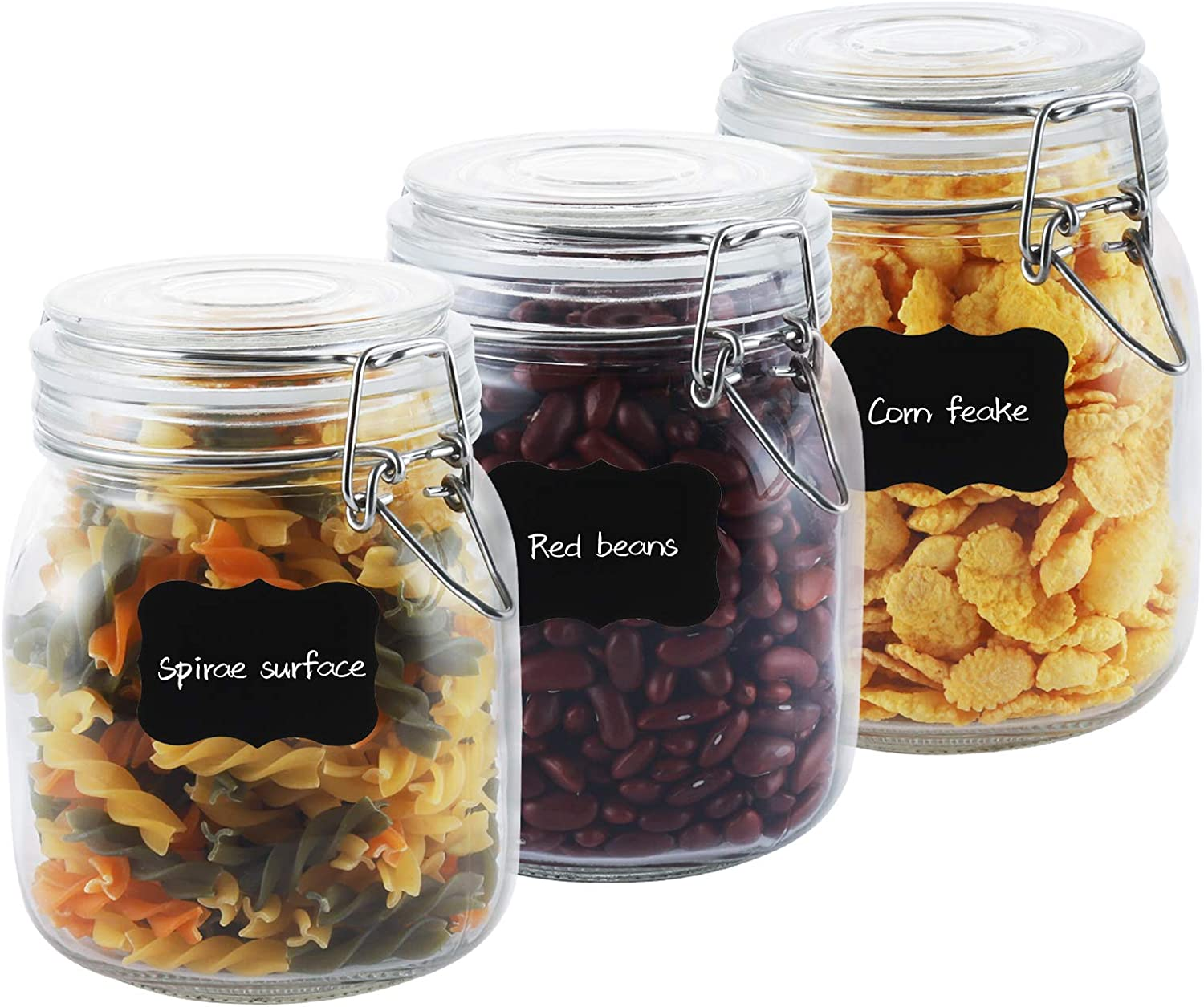 Airtight Boston Mall Glass Canisters with Lids Food Storage Large Inexpensive Jars 34oz