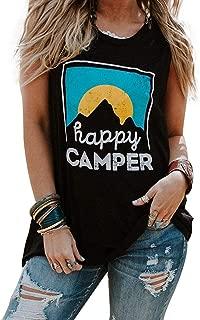 Women HappyCamper Tank Top Sunrise Casual Sleeveless T-Shirt Blouse Vest