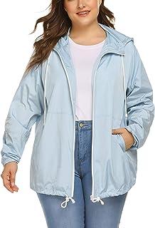 IN'VOLAND Women's Plus Size Raincoat Rain Jacket Lightweight Waterproof Coat Jacket Windbreaker with Hood