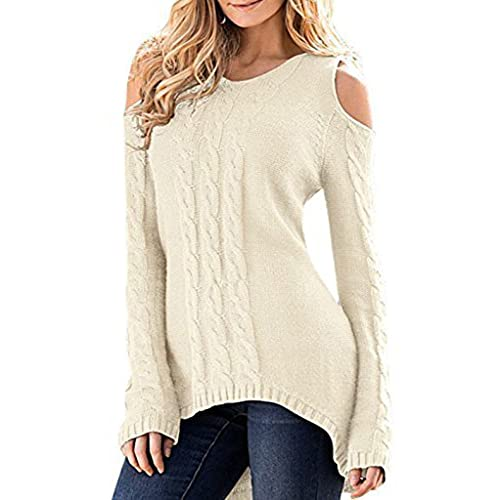 6471e6fa3781d Merryfun Women s Cold Shoulder Sweater Fall Long Sleeve Knit Pullover Tops