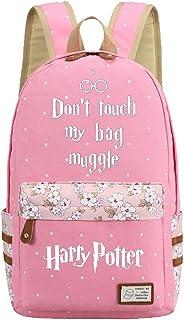JUSTRHICE Korean Casual Canvas Backpack Laptop Bookbag School Bag Daypack for Harry Potter Cosplay (Pink 4)