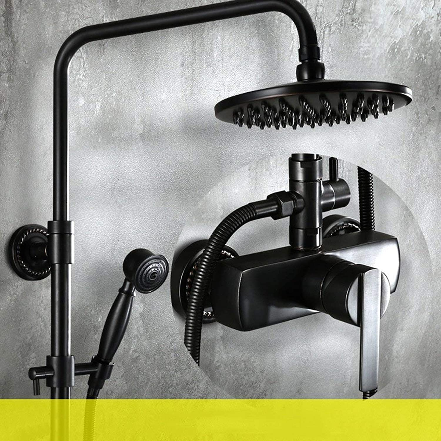 Shower set European style Black shower Device Faucet Supercharged Bathroom full copper Imitation ancient take a shower Device