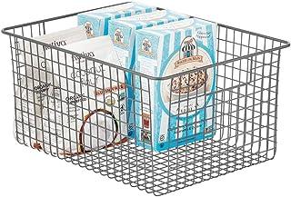 mDesign panier de rangement – panier en métal pour la cuisine, le garde-manger, la salle de bain etc. – boîte en métal ave...