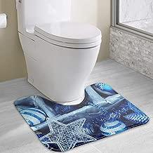 1 Piece Christmas Silver Star Rug Set Toilet 19x16 Carpet Rugs, Machine Wash/Dry, Perfect Plush Sets Tub, Shower, Bath Room