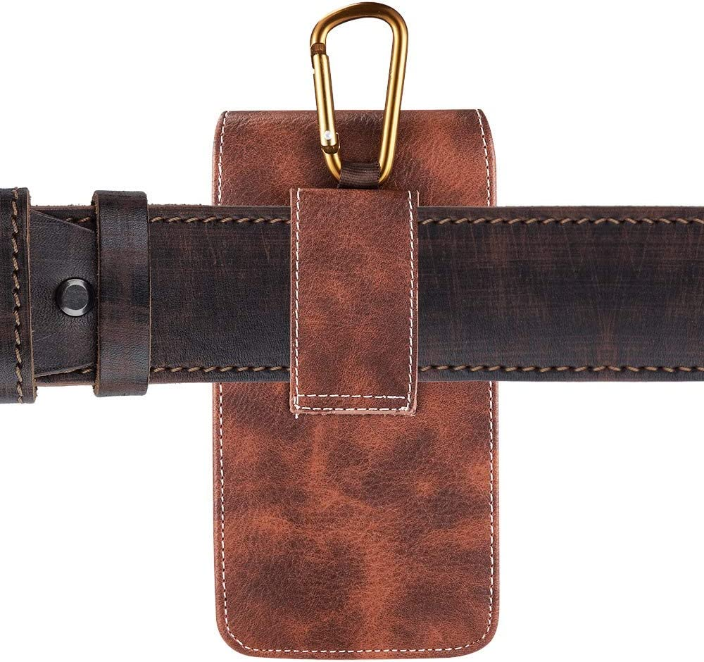 6.5-inch Vertical Brown PU Leather Universal Cell Phone Holster Pouch with Carabiner Clip, Belt Loop, and Card Slots