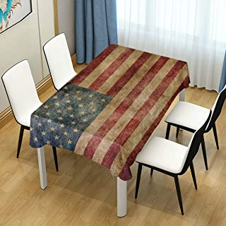 Naanle American Flag Star and Stripe Rectangle Tablecloth 54
