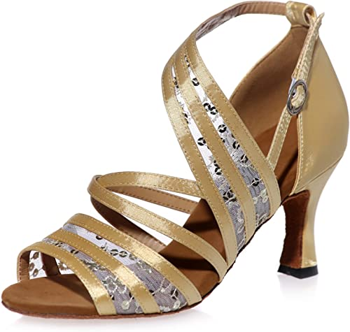 Elobaby Chaussures De Danse pour pour Femmes Latine 7.5cm Talon éVasé Dentelle Fleur Tango Prom Party   A8349  bas prix