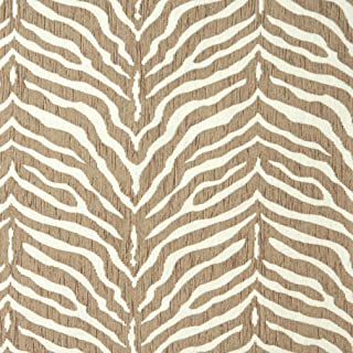 E190 Beige Zebra Pattern Textured Woven Chenille Contemporary Upholstery Fabric by The Yard