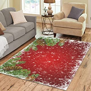 InterestPrint Sweet Home Stores Collection Custom Red Christmas Area Rug 7'x5' Indoor Soft Carpet