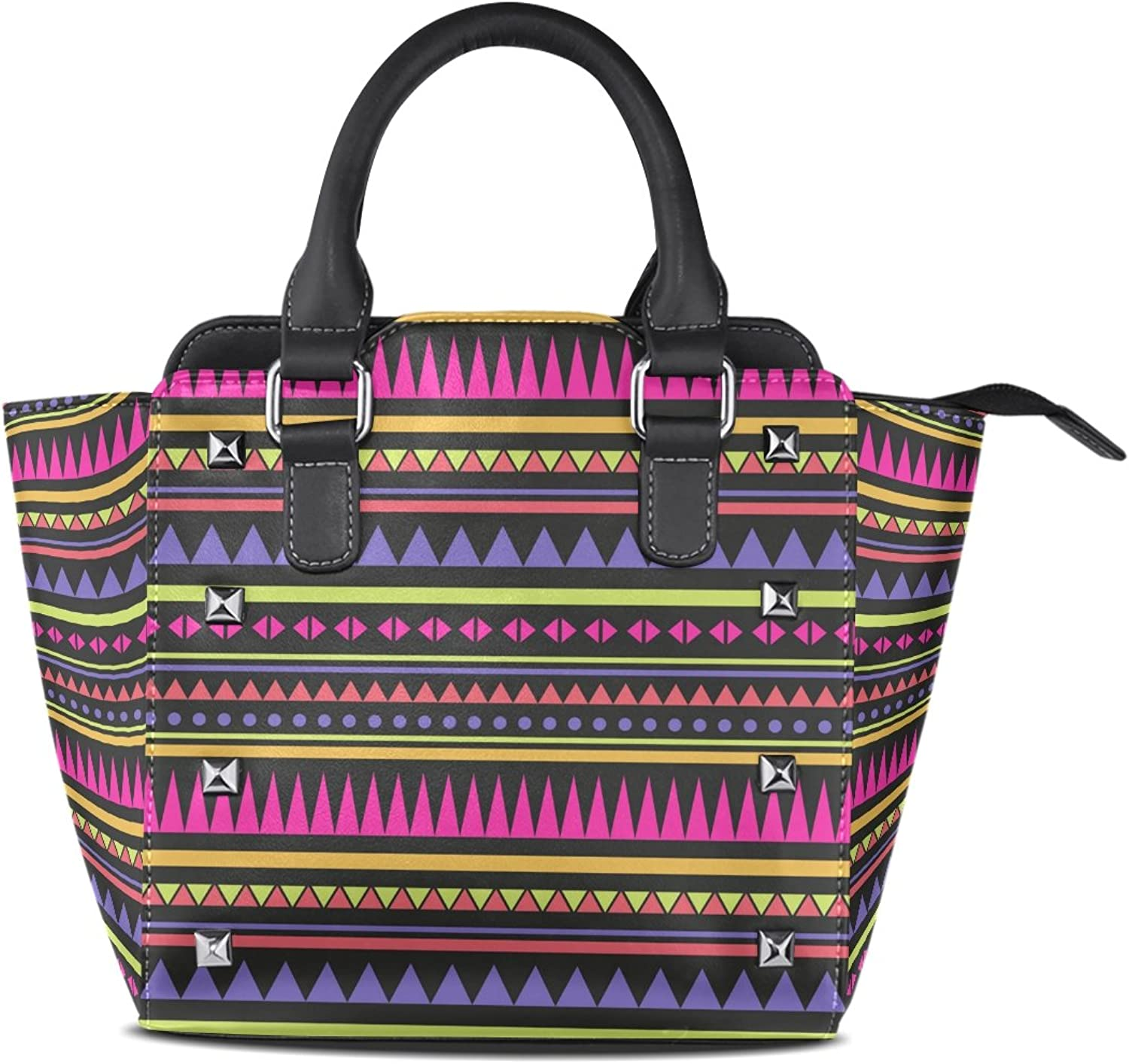 My Little Nest Women's Top Handle Satchel Handbag colorful Bohemian Style Tribal Stripes Pattern Ladies PU Leather Shoulder Bag Crossbody Bag