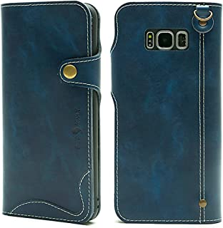 Galaxy S8 Wallet Leather Case, Genuine Leather Folio Flip Book Design Cover with Card Slot, Cash Clip, Magnetic Closure and Hand Strap for Samsung Galaxy S8 - Blue