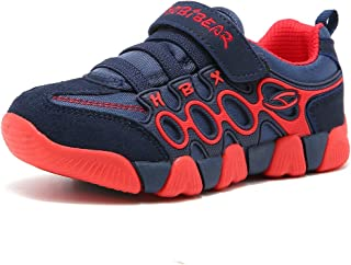 HOBIBEAR Boys Running Sneakers Hook and Loop Girls Light Weight Sport Shoes