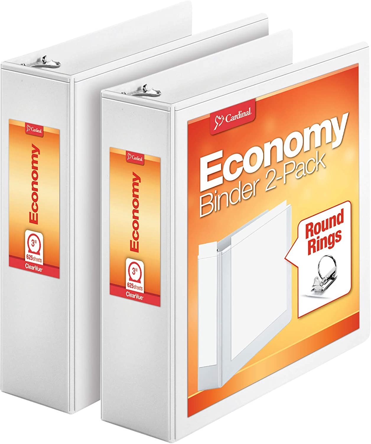 Nonstick PVC Free 3 Inch 2 Pack of Binders 79530 New Version Economy 3 Ring Binder Holds 625 Sheets Presentation View White